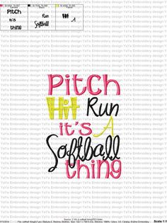Softball Embroidery Design by YaYaEmbroideryDesign on Etsy https://www.etsy.com/listing/204162428/softball-embroidery-design