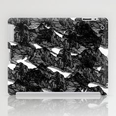 Mountain Range - Line Drawing Pattern Black and White  iPad Case by Darci dproject