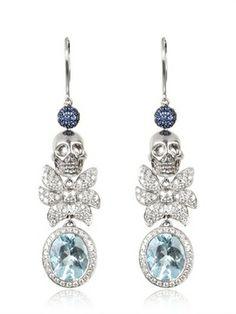 Jade Jagger - Skull Aqua Earrings