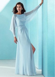 Beautiful Chiffon Bateau Neckline Long Sleeves A-line Prom Dress With Beadings