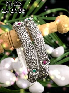 Beautiful German silver bangle studded with pink color stones. Silver Bangles, Sterling Silver Earrings, Imitation Jewelry, Anklets, Indian Jewelry, Pink Color, German, Jewelry Design, Stones