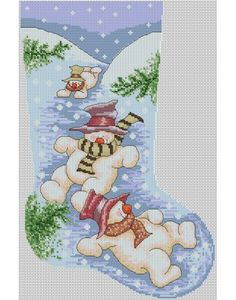 Snowmen Christmas Stocking PDF Cross Stitch Pattern By Lucie Cross Stitch Christmas Stockings, Cross Stitch Stocking, Christmas Stocking Pattern, Xmas Stockings, Christmas Cross, Christmas Snowman, Christmas Time, Christmas Ideas, Merry Christmas