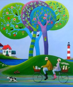 View Iwona Lifsches's Artwork on Saatchi Art. Find art for sale at great prices from artists including Paintings, Photography, Sculpture, and Prints by Top Emerging Artists like Iwona Lifsches. Art And Illustration, Illustrations, Art Populaire, Bicycle Art, Bike, Art Competitions, Wow Art, Naive Art, Whimsical Art