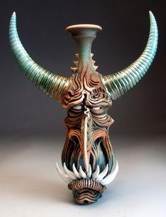 His work is amazing! Ceramic Decor, Ceramic Clay, Ceramic Pottery, Pottery Art, Ceramic Jugs, Pottery Sculpture, Sculpture Art, Arte Black, Polymer Clay Kunst