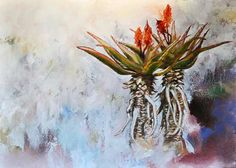 Aloe duo Lisl Barry Oil on canvas x x Small Paintings, Flower Paintings, Painting Flowers, Art Paintings, Africa Painting, Sibylla Merian, Plant Painting, Silk Painting, South African Artists