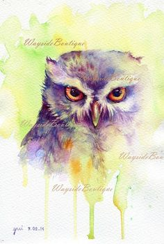 Fantasy Owl Watercolor painting 7.5 x 11 by WaysideBoutique