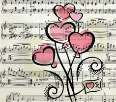 Valentine Hearts Print on Vintage Sheet Music by MountainsEdge, $6.50