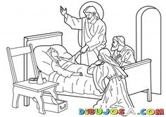 Jesus raising Jairus's daughter from the dead. Bible coloring page Jesus Coloring Pages, Coloring Pages For Girls, Colouring Pages, Little Girl Crafts, Sick Drawings, Sunday School Coloring Pages, Sunday School Projects, Jesus Book, Miracles Of Jesus
