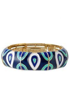 Blue, Green & White Patterned Thick Bangle Bracelet| Haddie Bangle