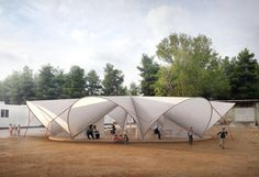 Maidan tent aims to improve life in refugee camps with pop-up public space Organic Architecture, Space Architecture, Architecture Diagrams, Architecture Portfolio, Kinetic Architecture, Public Architecture, Tent Design, Home Design, Design Ideas