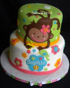 pink and green monkey cake if I was really good with fondant I would make this for Olivia