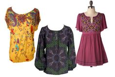 Vintage Inspired Tunics- love the purple, be super cute with booties and match stick jeans!