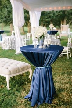 I love the tied table cloths and the cocktail tables scattered throughout reception.  Good for groups who don't really sit down during reception.