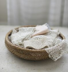 basket of linens by sadieolive on Etsy, $38.00