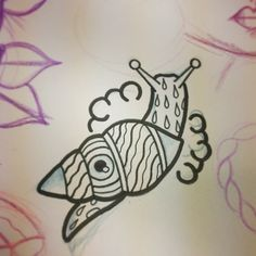 Snail Shell Black Ink Tattoo Design