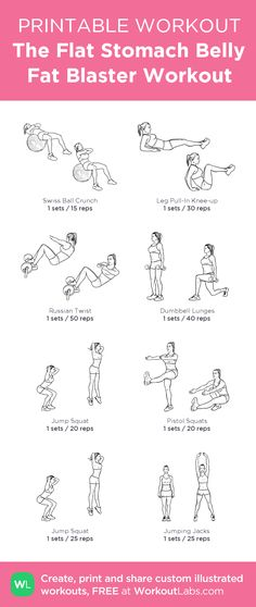 The Flat Stomach Belly Fat Blaster Workout: my custom printable workout by fat loss diet free printable Workout To Lose Weight Fast, Workout For Flat Stomach, Tummy Workout, Curves Workout, Belly Fat Workout, Lose Weight Quick, Flat Tummy, Flat Stomach Foods, Stomach Workouts