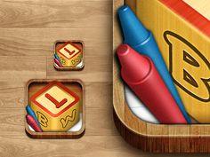 Dribbble - Letter Blocks World Icon by Surgeworks Objective C, World Icon, Ios App Icon, App Icon Design, Phone Icon, Block Lettering, Mobile App, Pattern Design, Letter Blocks