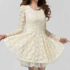 Ladylike Style Solid Color Lace Scoop Neck Long Sleeves Beam Waist Women's Dress