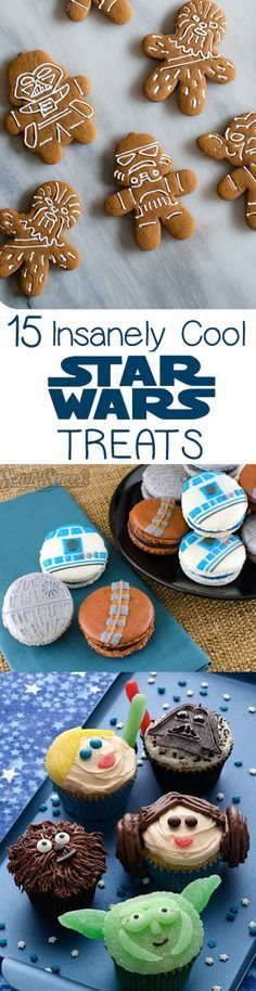 Ideas for a Star Wars party to celebrate the new movie! Yoda pizza, Ewok granola bars, Star Wars Macarons, and more!