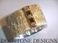 Men's Chunky Silver 9k Gold Diamond Dogstone Ring Contact - 0161 491 0624