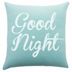 """Add a welcoming touch to your guest room or master suite with this handmade cotton pillow, showcasing a charming typographic motif.   Product: PillowConstruction Material: CottonColor: Blue and whiteFeatures:  Handmade by TheWatsonShop.Zipper EnclosureMade in the USA Dimensions: 16"""" x 16"""""""