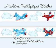 Airplane Aviator Wallpaper Border Wall Decals for baby boy nursery or children's transportation aviation bedroom decor. Beautiful blue and red colors. #decampstudios