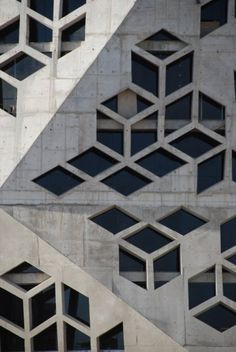 Check this out on leManoosh.com: #Architecture #Asymmetrical #Concrete #Grid #Origami #Pattern #Triangle #Vent #Window #X-Gone