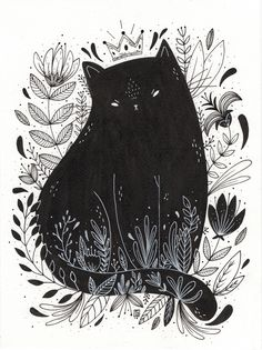 Black cat drawing, black cat painting, black cat art, black cats, cat i Art And Illustration, Illustration Inspiration, Cat Illustrations, Black And White Illustration, Art Inspo, Inspiration Art, Art Design, Oeuvre D'art, Crazy Cats