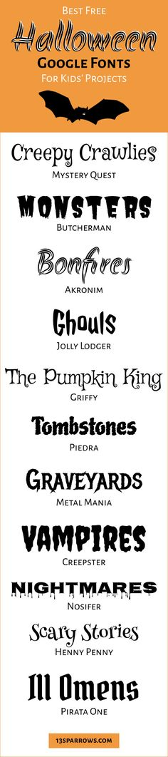 Looking for some fun fonts for a spooky kids' project? Spooky Font, Kid Fonts, Google Fonts, Scary Stories, Projects For Kids, About Me Blog, Halloween, Horoscopes, Preschool