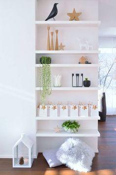 Great idea to make an awkward short wall into a shelf/display area.