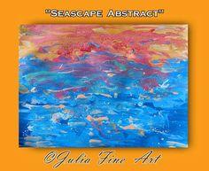 Ocean Painting, Seascape, Abstract Art, Canvas Print, Blue, Orange, Turquoise, Water, Aqua, Modern, Wall Decor, Movement, Julia Apostolova