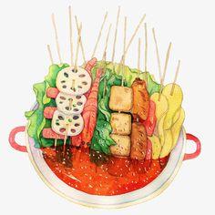 Dessert Illustration, Food Sketch, Food Cartoon, Watercolor Food, Food Stickers, Food Painting, Food Wallpaper, Food Drawing, Food Humor