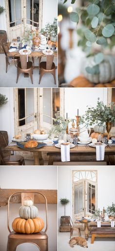 Cozy Thanksgiving Inspiration in Shades of Copper and Blue - Style Me Pretty Living