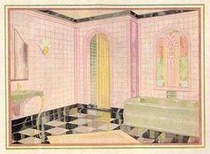 vintage shiny floor in room   Love the shiny floor!   retro bathrooms   Pinterest