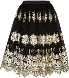 Alice + Olivia Justina Embroidered Tulle Skirt