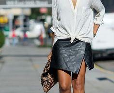 leather wrap skirt.