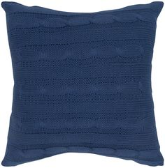 18 Inch X 18 Inch Blue Decorative Pillow With Sweater Fabric With Matching Inner Lining Model PILT05009BL001818