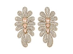 Sage Long Flower Earrings with champagne and white diamonds in 18k rose gold