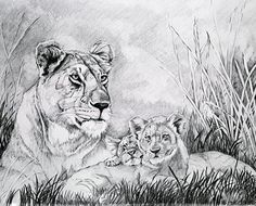 Lioness with two cubs - Lithographs of original pencil wildlife drawings