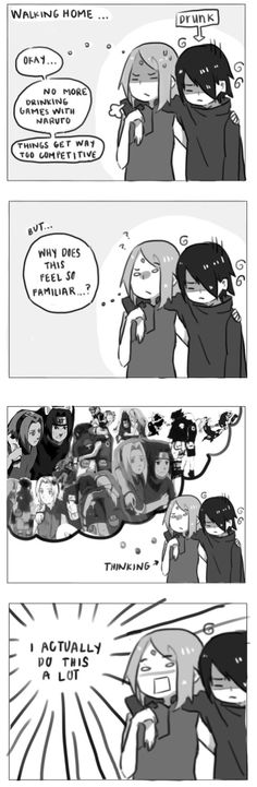 For anon who requested a drunk Sasuke, haha. But really, has anyone noticed how much Sakura carries Sasuke around? Sasuke Uchiha, Sasuke Sakura Sarada, Naruto Comic, Naruto Sasuke Sakura, Naruto Cute, Naruto Shippuden Anime, Anime Naruto, Boruto, Anime Meme