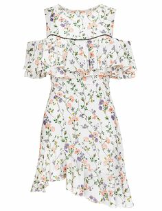 """White floral asymmetric cold shoulder dress with black piping. Made by us100% polyester33"""" longest lengthModel is wearing a size small and model's height is 5.9"""
