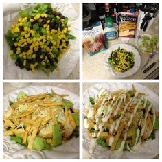 Easy Southwestern Chicken Salad              Romaine lettuce,   drained canned or grilled corn,  rinsed black beans (canned),  diced avocado,  Mexican cheeses,   tortilla chips.   Top with spicy grilled or baked chicken breast and Hidden Valley Ranch! ********Can use a healthier alternative dressing like homemade cilantro lime dressing.  This is great for a fast lunch or dinner and its very yummy!