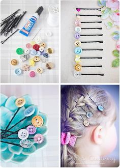 Hair Clips with cute buttoms / Ganchos de pelo con botones cuchis