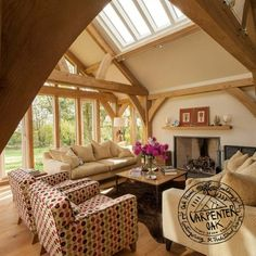 Living Room Interior With Exposed Oak Brace and Queen Post Truss Frame