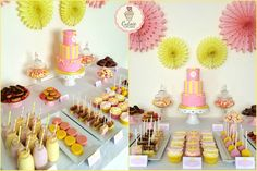 You are My Sunshine Dessert table created for my little 2 year old in her favourite colours, pink and yellow. All nibbles on the table are homemade.