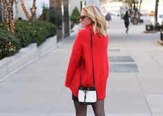 big red sweater, skirt, and tights, bucket bag, winter outfit ideas, wearing color | www.ithinkthereforeidress.com | I Think, Therefore I Dress | fashion blog