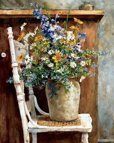 Morning Arrangement by Patton Wilson. I have this as a little 8x10 painting in a distressed cream colored frame...still never get tired of looking at it.