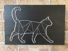 Check out this geometric cat sign that's currently available for purchase on my Etsy shop! A unique accent to add to your home Jack Skellington, Ontario, Geometric Cat, Cat Signs, Handmade Home Decor, Minimalist Art, String Art, Nursery Art, Painting On Wood