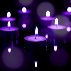 light from purple candles