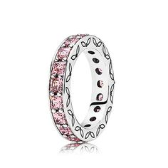 PANDORA | Silver ring with pink cubic zirconia